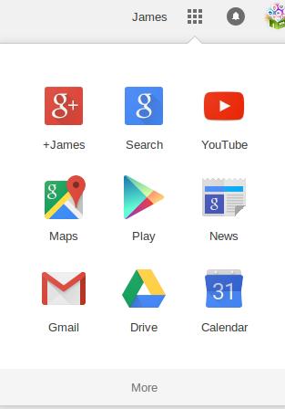 Google + navigation bar
